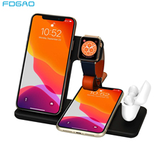 FDGAO 15W Fast Qi Wireless Charger 4 in 1 Charging Dock For Apple Watch iWatch 5 4 3 Airpods Pro Startion for iPhone 11 XS XR X