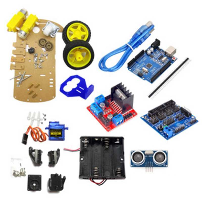 FULL-Inteligente Robot Car Kit Incluem Uno R3, Ultrasonic Sensor, Módulo Bluetooth Para Arduino Com Tutorial