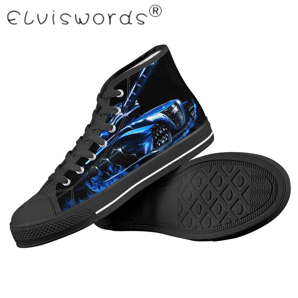 Promo ELVISWORDS Cool Tanks Design Vulcanize Shoes Men Black Bottom Trendy Canvas Shoes Large Sizes For Male Teen  Zapatillas Hombre