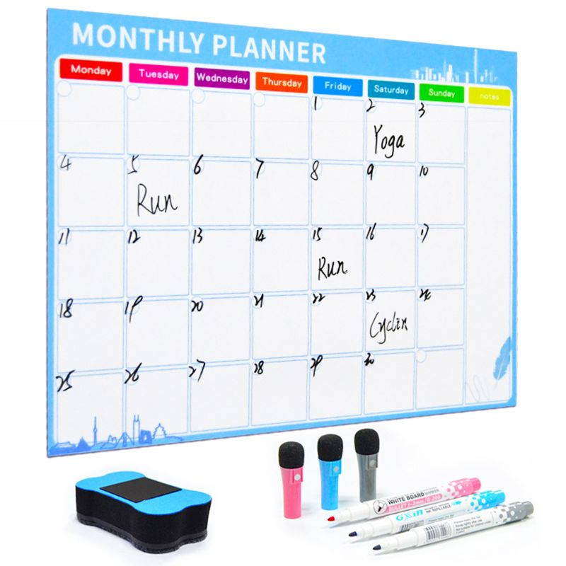 A3 Monthly Planner Magnetic Whiteboard Fridge Magnets Drawing Message Board Memo School Office Supplies Blue/Green C26 image