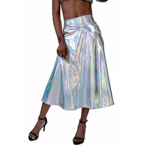 Outfits Midi-Skirt Laser Festival A-Link Shiny High-Waist Summer Metallic Night-Club