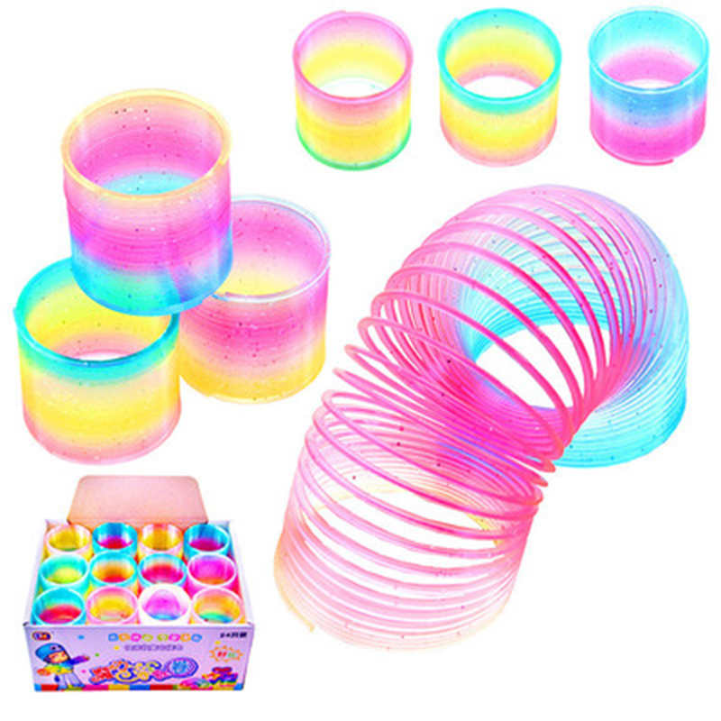 Huilong Rainbow Fashion Toys Child Colorful Rainbow Circle Folding Plastic Spring Coil Toy For Children's Creative Educational