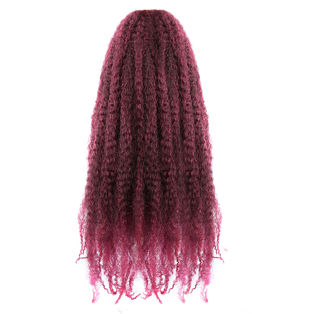 Buy Pageup Afro Curly Natural Soft Marley Braids 1B/Burgundy 18 Inch 30Roots/Pcs Synthetic Crochet Braids Hair Extensions for only 5.52 USD