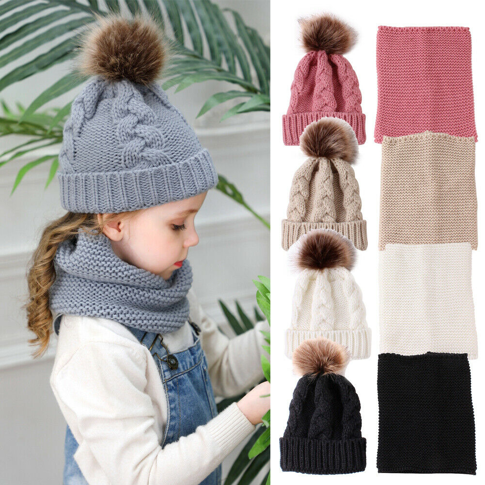 2PCS Baby Hat + Scarf Ring Boys Girls Knitting Wool Scarf And Fur Pom Hat Headgear Winter Accessories Sets 0-3Years