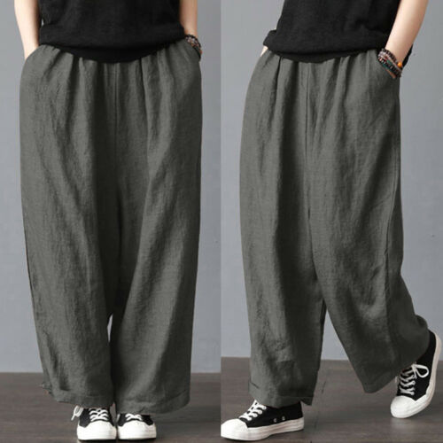 Meihuida Unisex Men Women Elastic Waist Soft Cotton Linen Wide Leg Loose Long Pants  Casual Trousers Plus Size