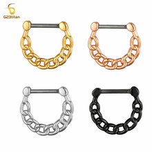 G23 Titanium Chain Daith Earrings Hoop Nose Ring Septum ClickerNipple Ear Cartilage Tragus Lip Stud 16g Piercing Body Jewelry