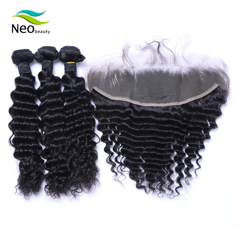 Peruvian Deep Wave Bundles With Frontal Silky Straight Hair No  Tangle No Shedding For Free Shipping