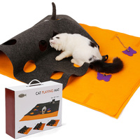 Multi Function Activity Mat For Cats Playing Felt Cat Mat Diy Hide And Seek Carpet With Holes Pet Toys For Kittens Cat