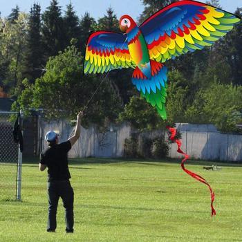 Cometa de loro 3D grande realista para niños Juego de vuelo al aire libre deporte jugando tela para jardín divertido regalo de juguetes con línea de 100m