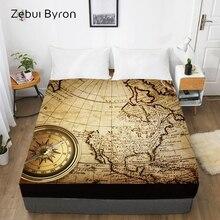 Sábana ajustada 3D, Sábana de cama con elástico doble/completo/reina/rey/personalizado, funda de colchón de mapa vintage 150/180/160x200, envío directo