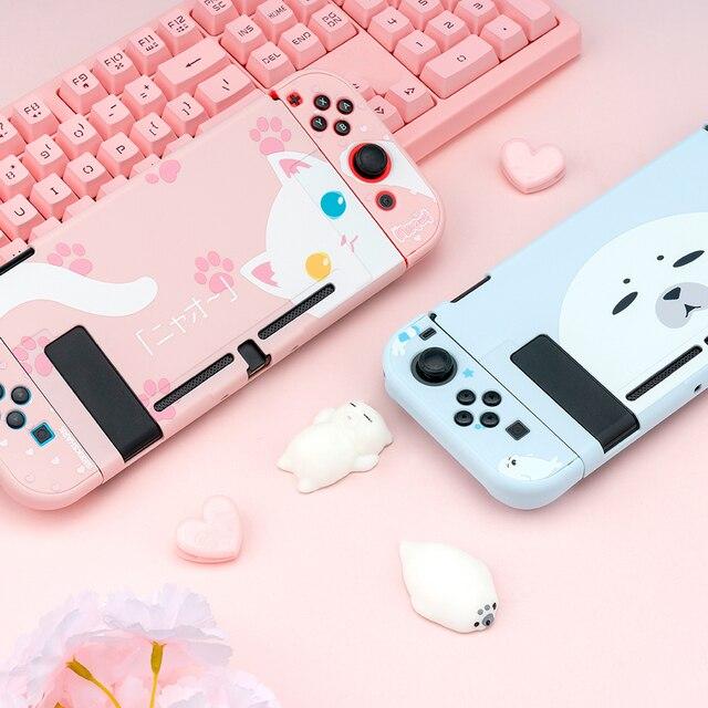สำหรับ Nintendo สวิทช์ NS Joy CON Controller กรณีน่ารัก PC Shell ชุดสวิทช์คอนโซลอุปกรณ์เสริม