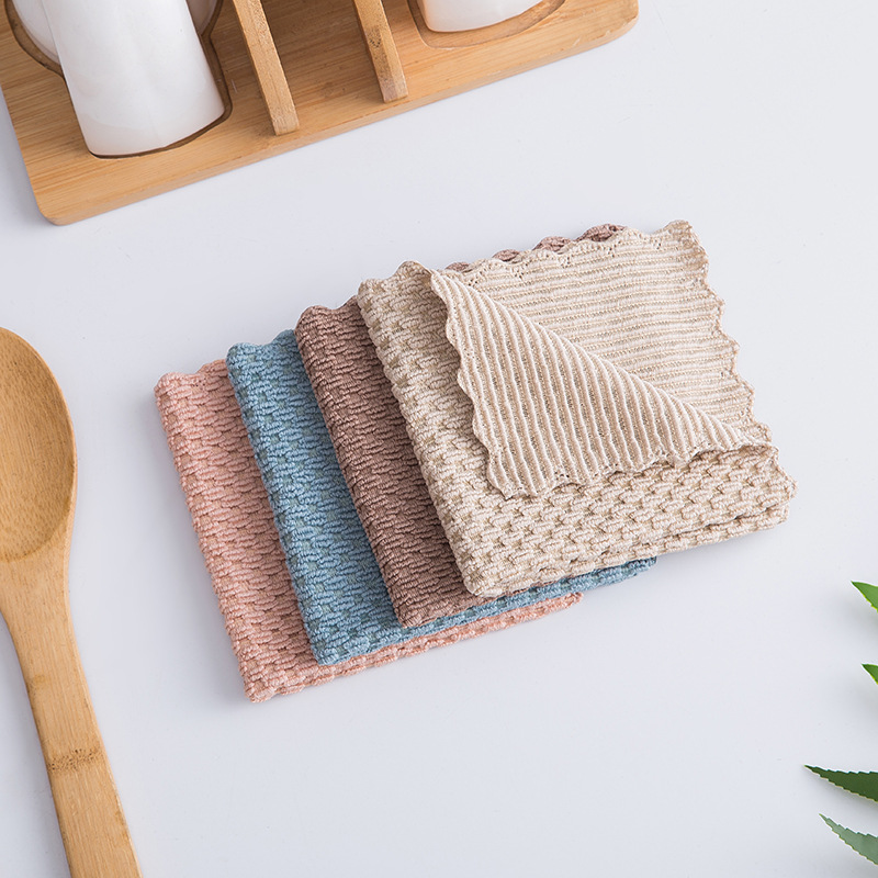 1Pcs Kitchen Supplies Home Washing Dish Multifunctional Wiping Rags Polyester/Nylon 4Color Anti-grease Cloth Super Absorbent