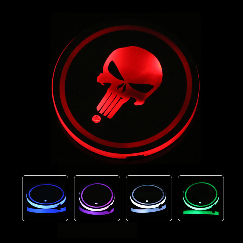 2pcs <font><b>LED</b></font> skull <font><b>Logo</b></font> Cup Holder Pad Bottle Drinks Coaster 7 Colors Changing <font><b>USB</b></font> Charging Mat <font><b>LED</b></font> Cup Mat <font><b>car</b></font> door light image