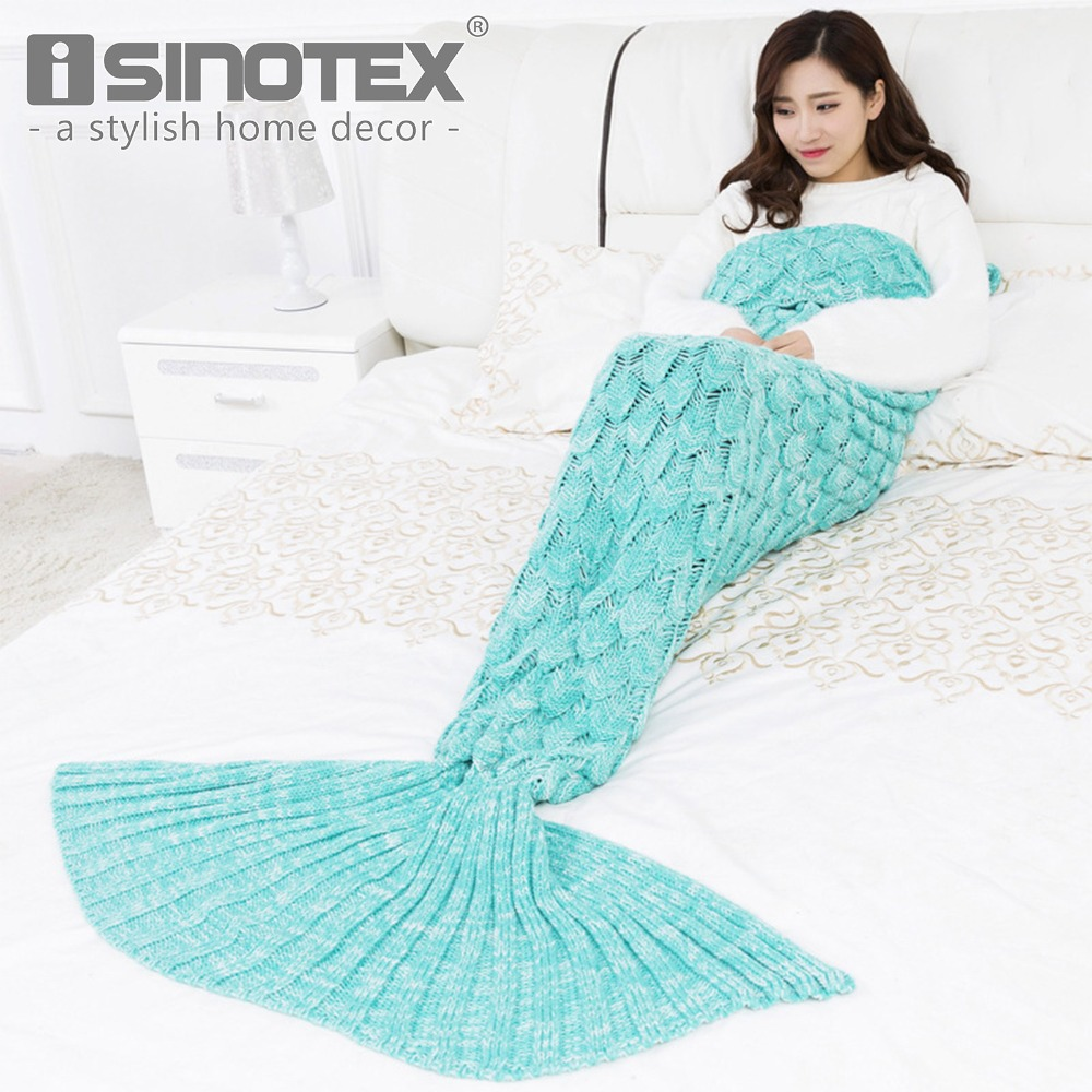 VIP LINK ISINOTEX Soft Knitted Mermaid Tail Blanket Crochet Handmade Sleeping Bag For Kids Adult Best Birthday Christmas Gift