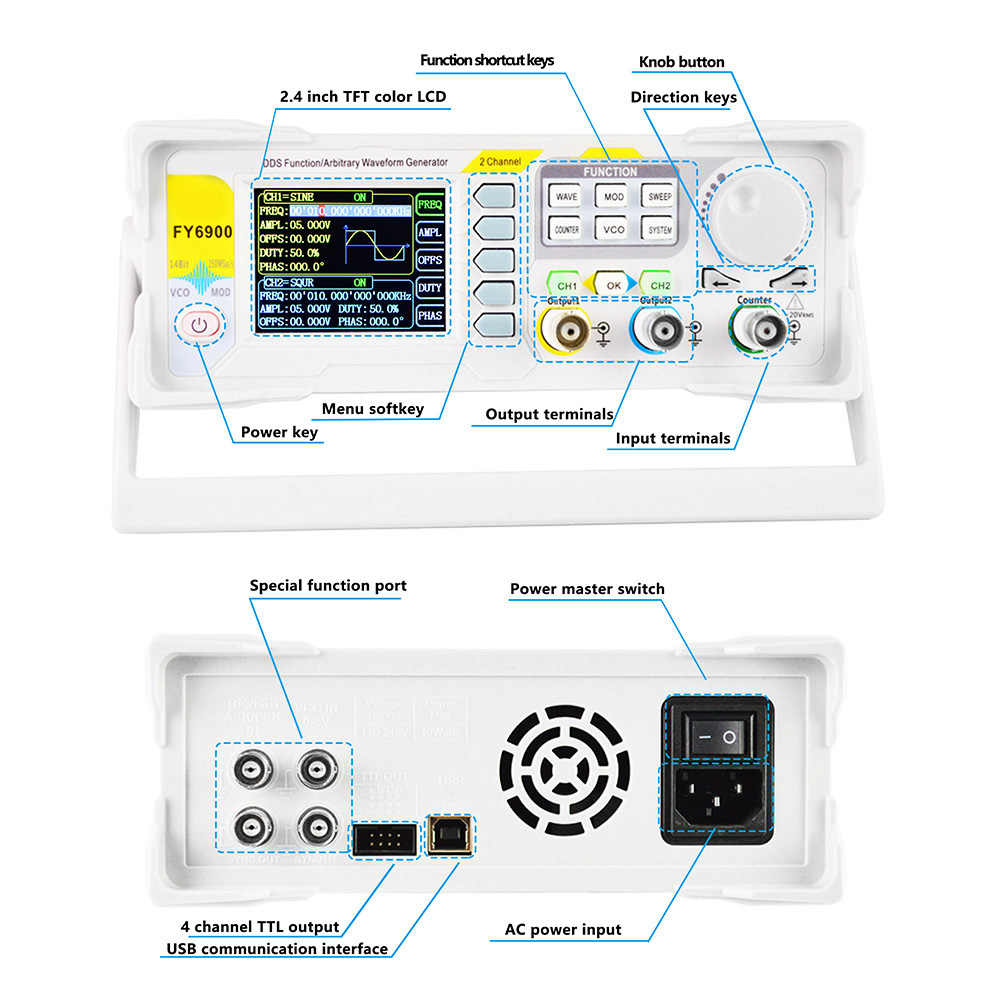 FY6900-60M 2 CH DDS Arbitrary Waveform Pulse Signal Generator//Frequency  US S