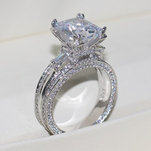 Женское кольцо с фианитом, геометрические Стразы, ювелирное украшение для свадьбы, помолвки, сверкающее квадратное кольцо