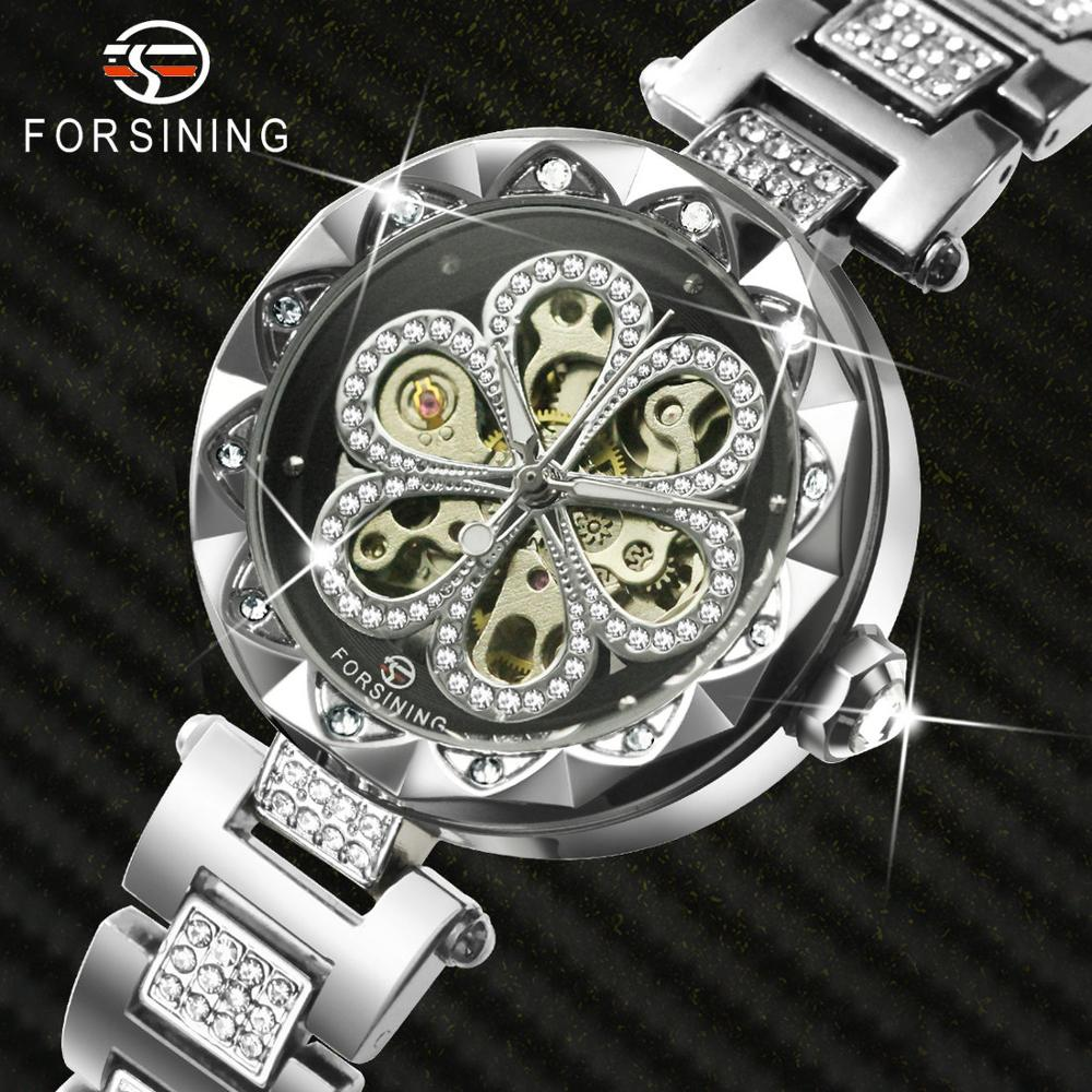FORSINING Luxury Crystal Women Watches Top Brand Luxury Automatic Mechanical Ladies Watch Iced Out Design Dress Wristwatches
