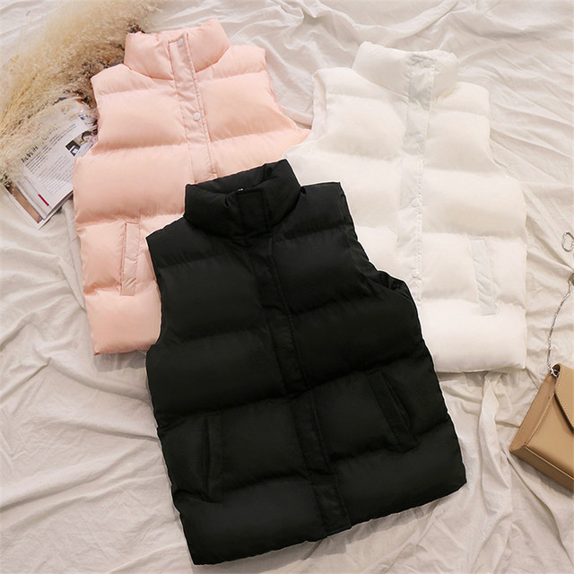 20 New Autumn Solid Women Down Cotton Vest Lady Short Outwear Winter Girl Sleeveless Cotton Jacket Big Size Basic Tops WZ1176 3
