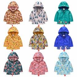 Crianças jaqueta de bebê com capuz meninas à prova de vento casaco de chuva e meninos impresso single-breasted outwear blusão para crianças topos roupas