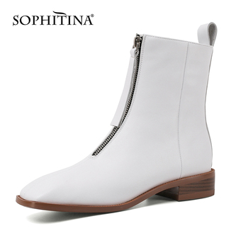 SOPHITINA Women's Shoes Ankle Boots Winter New Handmade High Quality Ladies Boots Zipper Low Heel Square Toe Women's Boots SO584 sophitina handmade ankle boots high quality sexy high thick heel retro round toe women boots buckle winter woman warm shoes b37