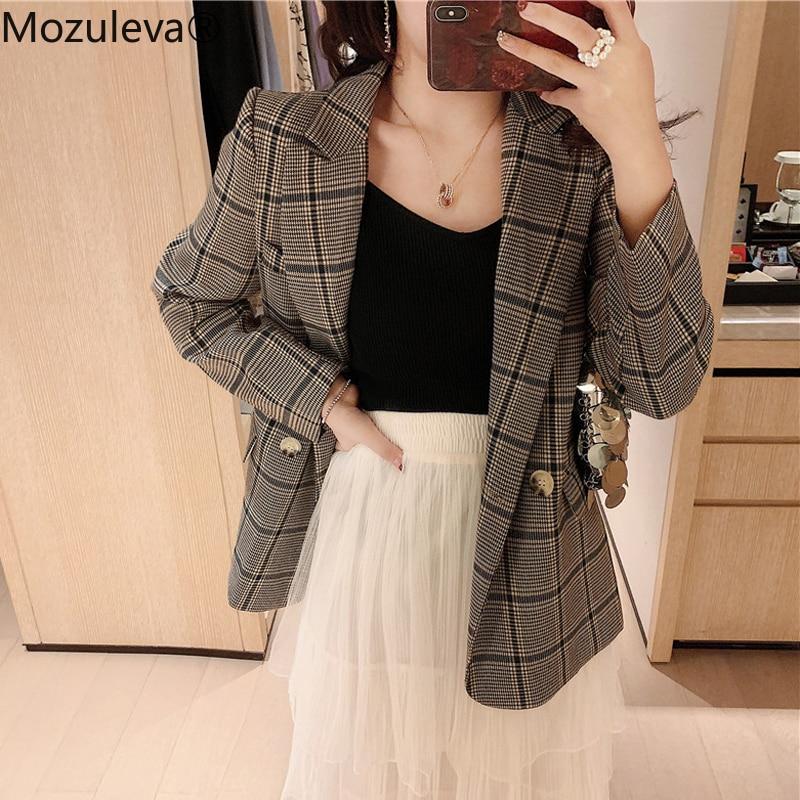 Mozuleva Vintage Double Breasted Plaid Women Blazer Notched Full Sleeve Female Jacket Casual Work Wear Blaser Femininas 2019