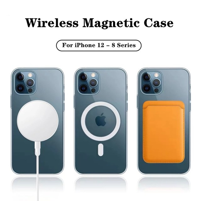 For Magsafe Magnectic Clear Phone Case For iPhone 12 Mini 11 Pro Max SE2 XS XR X 8 + Macsafe Case Shockproof Mac Safe Card Solt