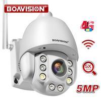 Wifi cámara IP PTZ 1080P 5MP 5X Zoom 4G de dos vías de Audio AI Auto de seguimiento inalámbrico de la cámara al aire libre 60m Video IR cámara de seguridad de casa