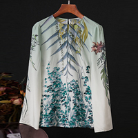AELESEEN Women 100%Silk Blouse Vintage Runway Fashion Floral Print Long Sleeve Blouse Shirt Blusas Femininas 2020 Spring Shirt