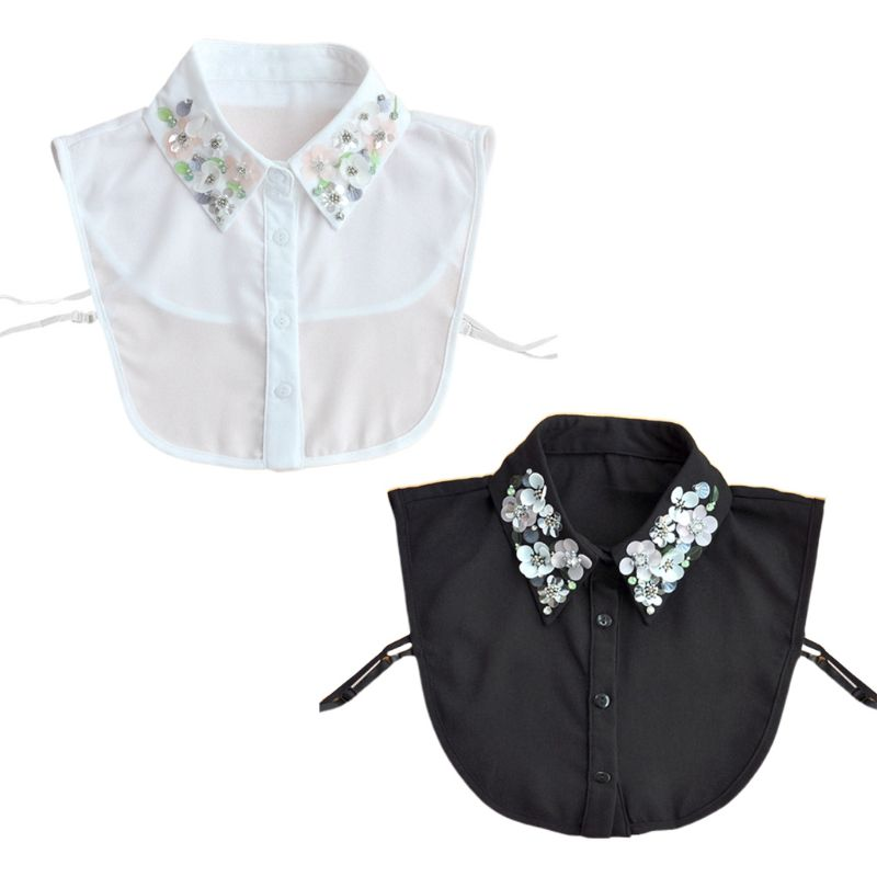 Womens Detachable Blouse False Collar Handmade Beading Rhinestone Sequins Flower Lapel Adjustable Half-Shirt Necklace
