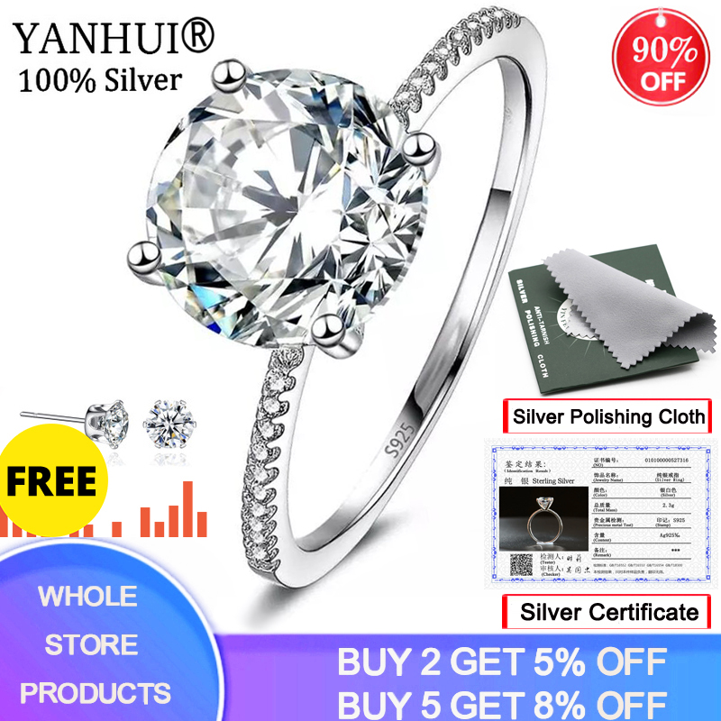 YANHUI With Certificate Solitaire 3 Carat Ring Original Silver 925 Jewelry Natural 9mm Zirconia Diamond Wedding Rings For Women(China)