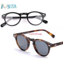 IVSTA Oliver logo OV 5186 Gregory Peck Acetate Glasses Women Round Polarized Sunglasses Brand Designer with Box Myopia Optical