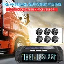 Tire Pressure Monitoring Truck TPMS Tire Pressure Monitoring System 8.0bar Solar Energy 6PCS Sensor High Temperature Alarm USB