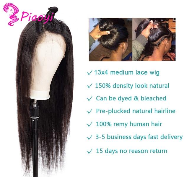 "Pelucas de cabello humano con encaje frontal 13x4 para mujeres negras 10 ""-24"" pulgadas 150 densidad cabello lacio brasileño Color Natural cabello Remy Piaoyi"