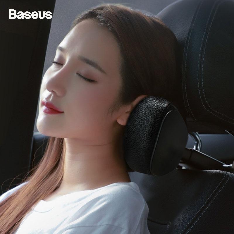 Baseus Car Neck Pillow Headrest Adjustable PU Leather Auto Memory Foam Pillows Neck Rest Seat Universal Car Headrest Accessories