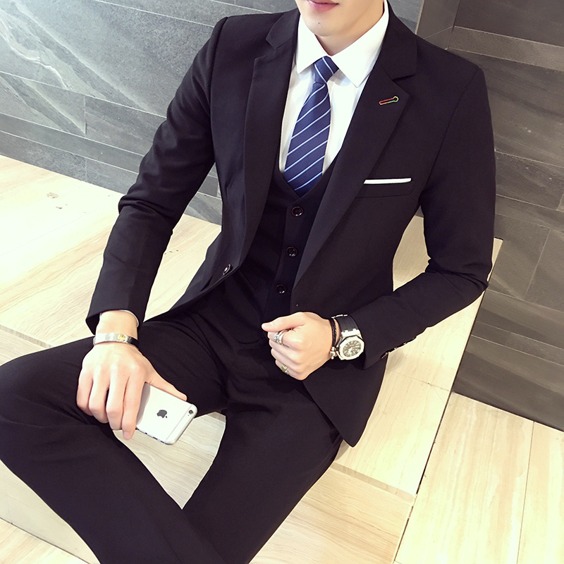 2018 Spring And Autumn New Style Men Business Casual Slim Women's Suit Three-piece Set Comfort Edition-Shaped Suit Collar Suit