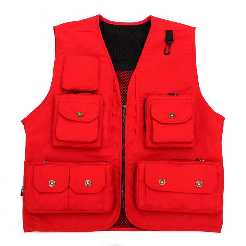 Multi Tasche weste rot beige schwarz grün fotografie director reporter outdoor arbeiter werbung angeln männer leinwand weste