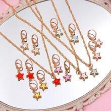 Flatfoosie – collier avec pendentif étoile en acrylique multicolore pour femmes, chaîne torsadée Simple, bijoux coréens, cadeau de fête