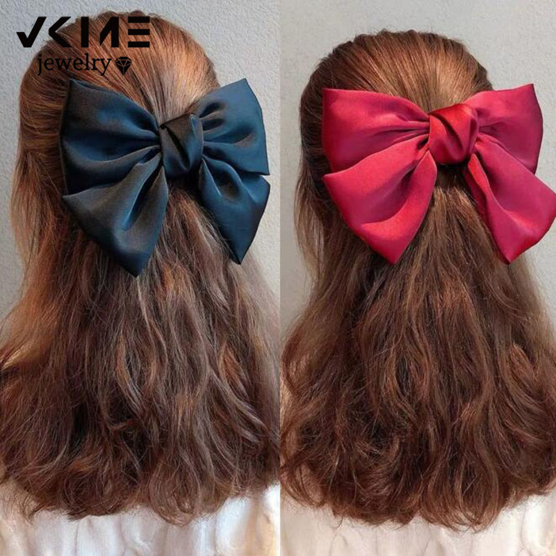 Bow Hairpin Oversize Red Barrette Floral Pink Girls Korean Fashion Women Cute Big VKME