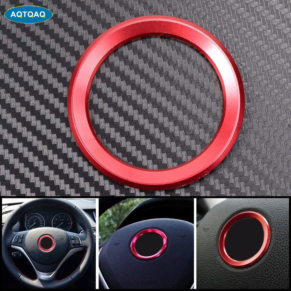 45MM*45MM Inner Diameter Sports Aluminum Steering Wheel Center Decoration Logo Ring Cover Trim For BMW  320LI  GT5 Series X1 X3