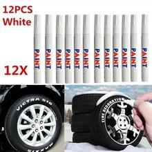 12pçs/set Caneta de marcador de tinta permanente, caneta de tinta de borracha impermeável branca, pintura ambiental do piso do pneu de carro