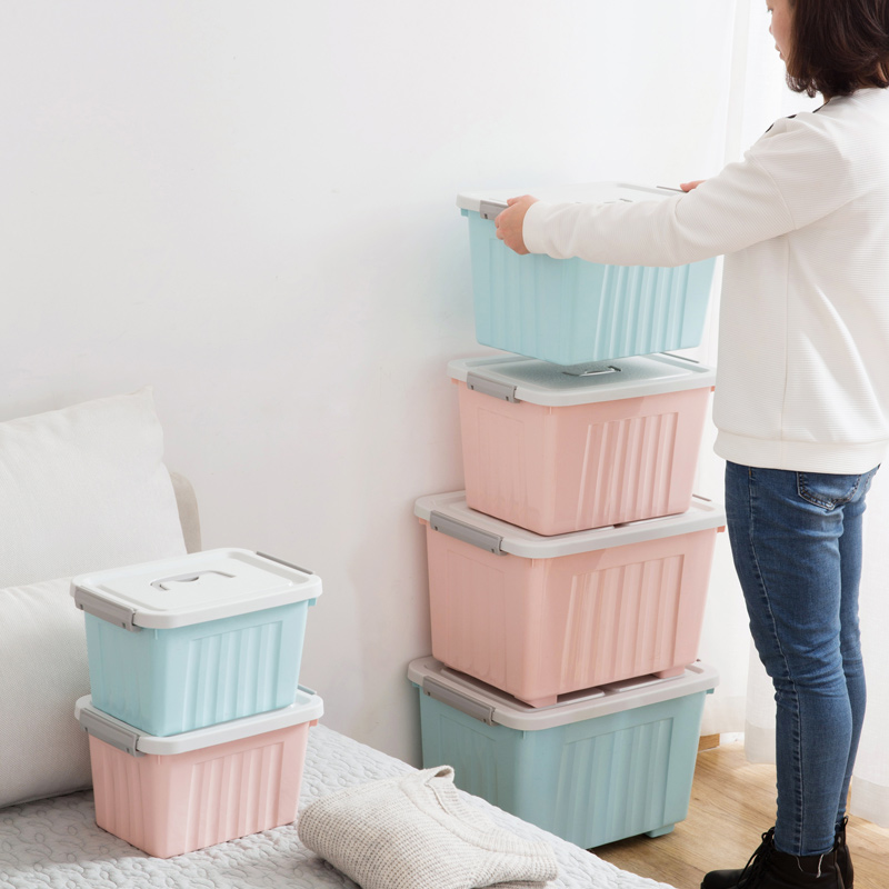 Portable Plastic Large Storage Box With Lid Student Dorm Room Clothes Finishing Box Candy Snacks Container Organiser