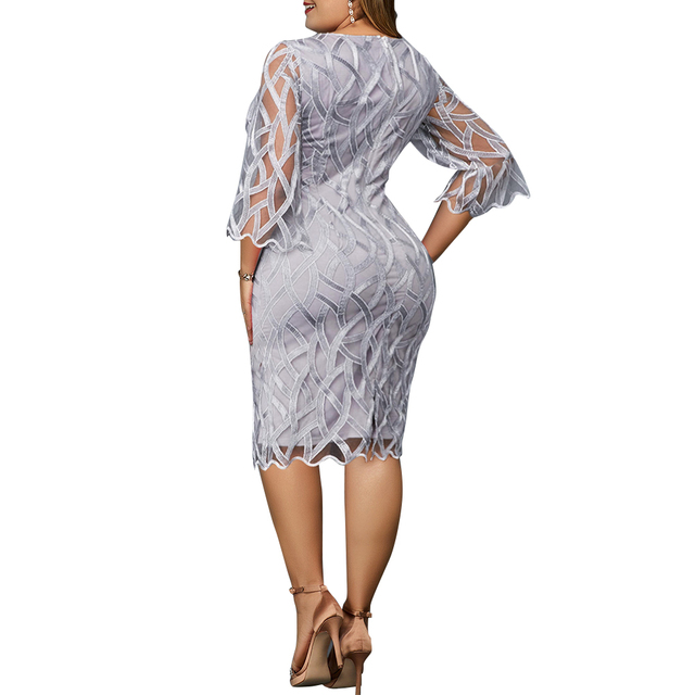 6XL Elegant Women Dress Plus Size Transparent Seven Sleeve Party Dress Autumn Ladies Knee-Length Dress Fall Retro vestidos D30 2