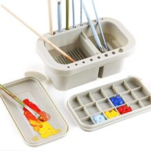 Marie's Multifunction Artist Paint Brush Basin with Brushes Holder,Washer,Trays,Palette for Watercolor Oil Acrylic with Lid