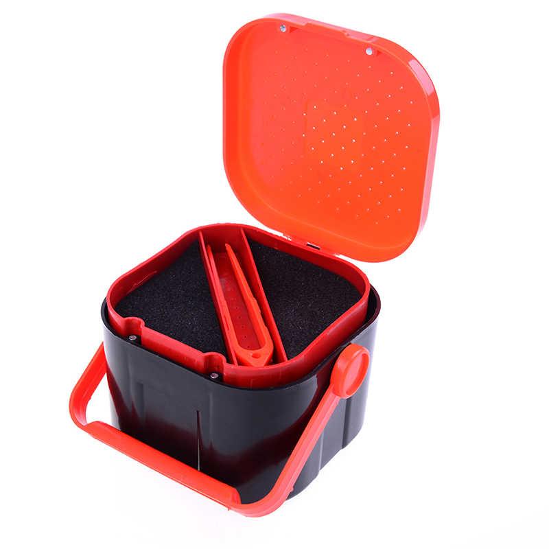 2 compartiments boîte de pêche multifonctionnel 3 tailles en plastique vers de terre ver appât leurre mouche carpe pêche matériel boîte accessoires