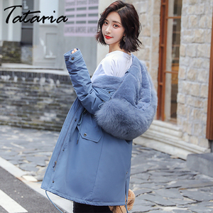 Image 2 - Tataria Womens Down Jacket Sustans Winter Womens Parks Women Winter Coats with Fur Collar Female Thicken Long Parks Jacket