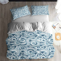 HELENGILI 3D 침구 세트 문어 인쇄 Duvet 커버 세트 pillowcase 침대 세트와 실물과 침구 홈 섬유 #2-2