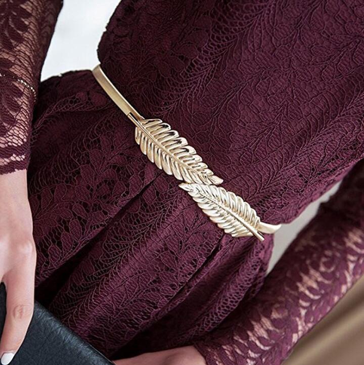 Women's Runway Fashion Elastic Metal Cummerbunds Female Dress Corsets Waistband Belts Decoration Belt R2012