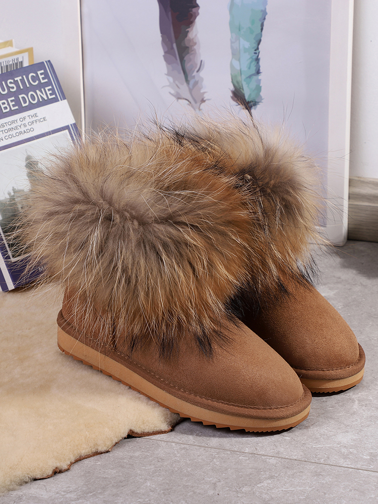 Snow-Boots Sheepskin Winter Shoes Suede Girls Women Genuine Shearling Ankle Fur FOR Wool-Fur