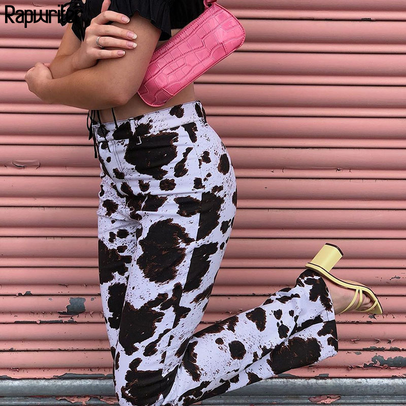 Cow Print High Waist Straight Y2k Pants Women 2020 Fashion Office Ladies Full Length harajuku Trousers Pockets capris Rapwriter