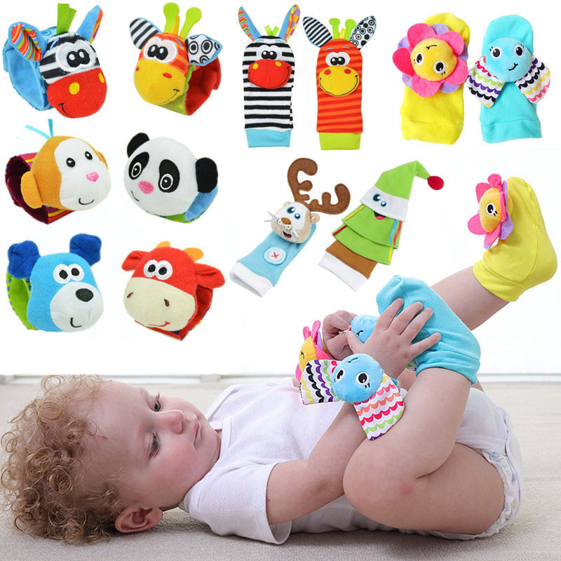 Infant Baby Toys Bebe Rattles/socks 2 Pcs/set Can Make Sound Cute Toy For Baby Boy Toys Kids Toy Hanging  Early Learning Educate